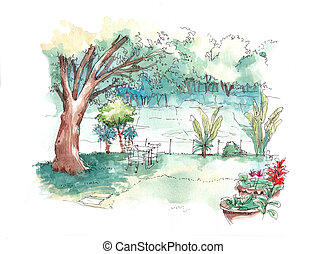 green garden water colour illustration