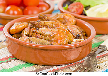 Gambas Pil Pil (Sizzling prawns). Traditional Spanish tapas...