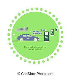 Icon Flat Growing Popularity Electric Vehicles - Icon flat...