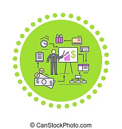 Concept of Financial Analysis Icon Flat - Concept of...