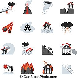 Natural Disasters Icons Set - Different types of natural...