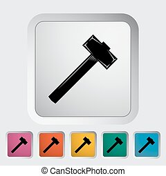 Hammer Single flat icon on the button Vector illustration