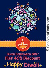 Happy Diwali discount sale promotion offer banner in vector