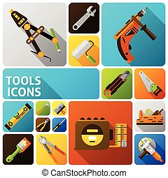 Diy Tools Icons - DIY tools flat icons set with handyman...