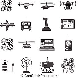 Drones Black White Icons Set - Flying and caterpillar drones...