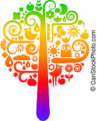 Rainbow tree with ecological icons - Colorful vector tree...