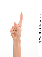 Womans hand representing point finger - Womans hand pointing...