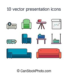 Presentation icons with projector and comfortable seats -...