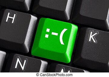 negative smilie on green computer keyboard button showing...