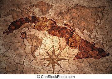 vintage cuba map - cuba map on vintage crack paper...