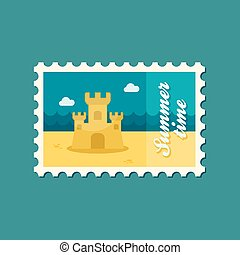 Sand Castle flat stamp, summertime - Sand Castle flat stamp,...