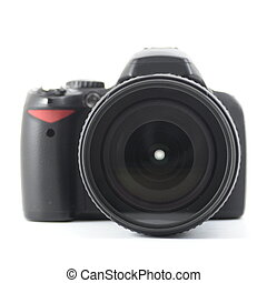 black dslr camera isolated on white background...