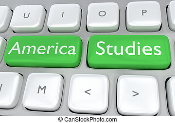 America Studies concept - Render illustration of computer...