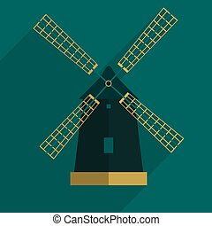 windmill flat icon with long shadow,eps10 - windmill flat...