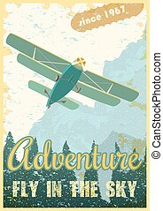 Biplane retro poster - Biplane on the background of the...