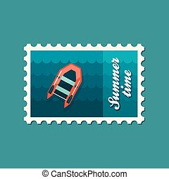 Inflatable boat flat stamp, vector illustration eps 10