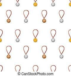 Gold, silver ang bronze medals with ribbon on white seamless pattern