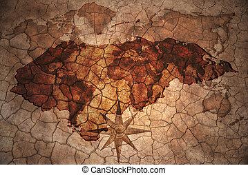 vintage honduras map - honduras map on vintage crack paper...