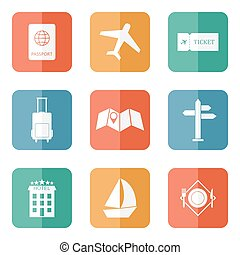 Travel icons flat vector - Travel icons flat colored vector...