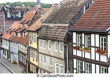 Half-timbered houses in Quedlinburg town, Germany