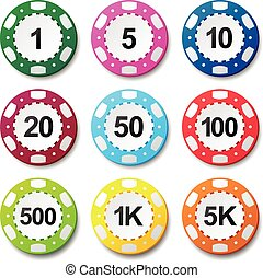 Gambling casino poker chips numbers color sign set