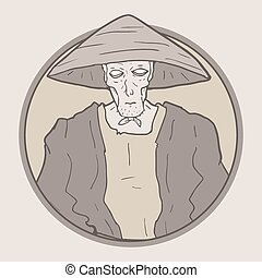 vintage oriental man draw - Creative design of vintage...