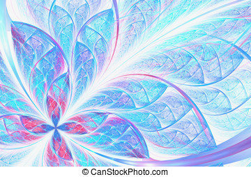 blue abstract fractal flower on white background