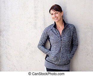 Older sports woman smiling