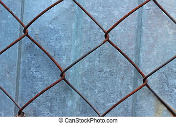 metal grid - old rusty metal mesh wire