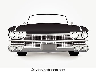 retro car - vector illustration of black retro car isolated...