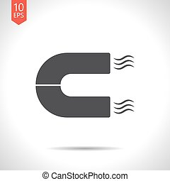magnet icon - Vector flat black magnet icon on white...