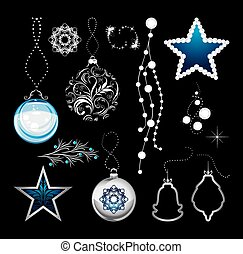 Shining Christmas ornaments isolated on a black background....