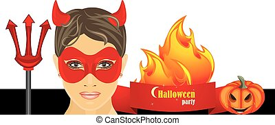 Halloween hot party Banner Vector illustration