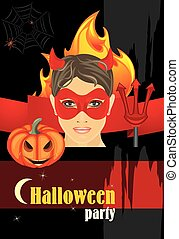 Halloween hot party. Vector illustration