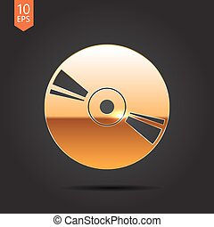 Compact disc icon - Vector gold compact disc icon on dark...