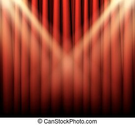 Theater stage with red curtain and spot light
