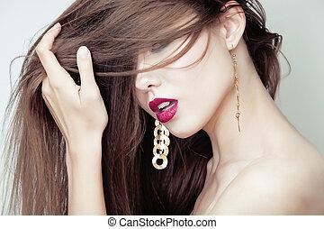 kobieta, Uwodzenie, młody, twarz, włosy, brunetka, Ładny,...