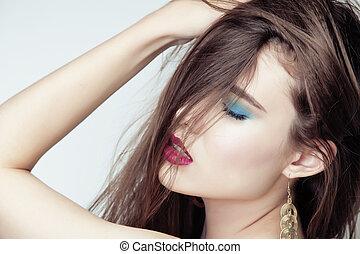 młody, Ładny, brunetka, kobieta, Z, włosy, Na, twarz,...