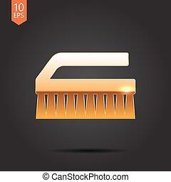 Cleaning brush - Vector gold cleaning brush icon on dark...