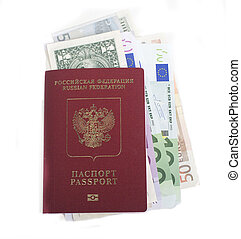 passport with lot of currency cash dollars, euro, ready to...