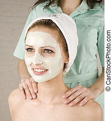 stock photo attractive lady getting spa treatment in salon...