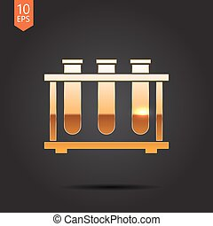 test-tube - Vector gold test-tube icon on dark background