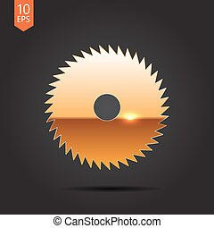 Circular Saw - Vector gold circular saw icon on dark...