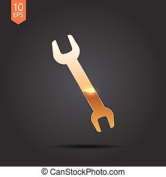 adjustable wrench - Vector gold adjustable wrench icon on...