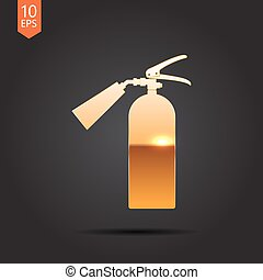 flat fire extinguisher - Vector gold fire extinguisher icon...