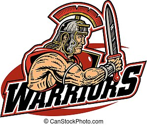 warriors team design with muscular warrior mascot