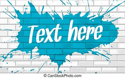 White brick wall with paint splatter and text vector...