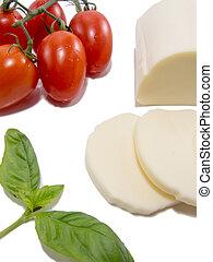 mozzarella basil tomato isolated