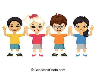 Kinder, abbildung, Besitz, Hände