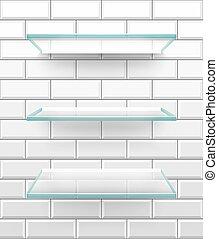 Bathroom glass shelves on white brick tiles, vector